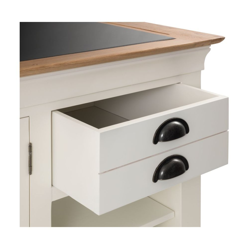 Dijon Cream Painted Large Granite Top Kitchen Island Unit - Sale