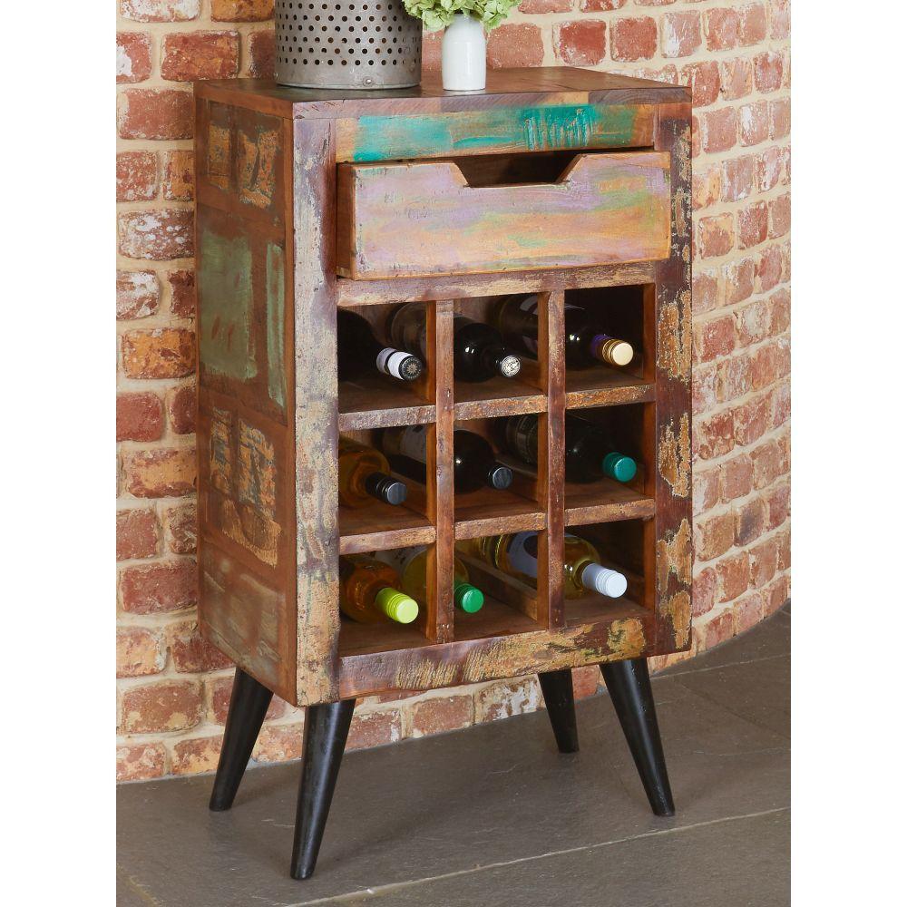 Coastal Chic Reclaimed Furniture Wine Rack Lamp Table Sale