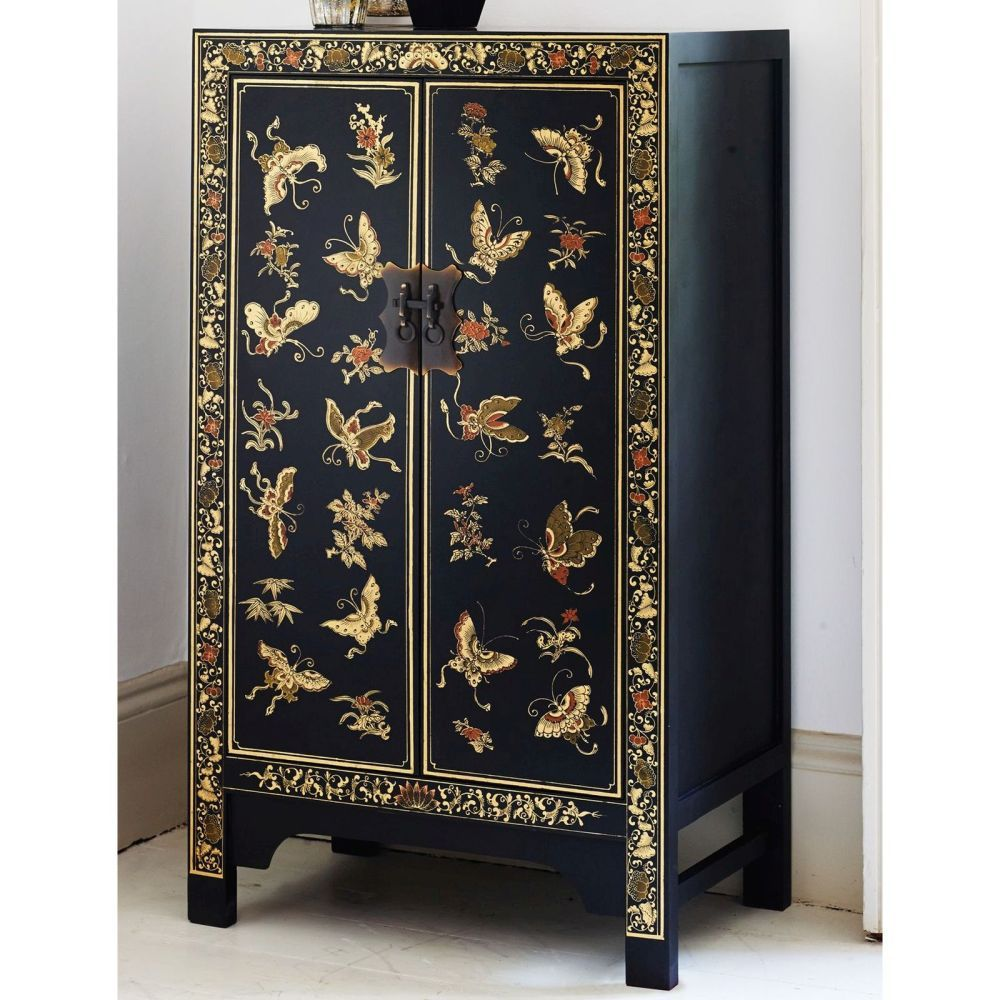 Nine Schools Furniture Oriental Decorated Black Storage