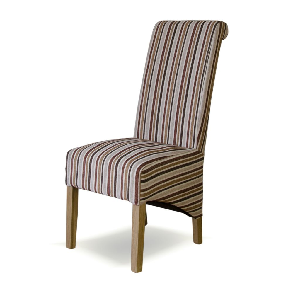 Sensational Striped Royale Fabric Solid Oak Rollback Dining Chair Home Interior And Landscaping Dextoversignezvosmurscom
