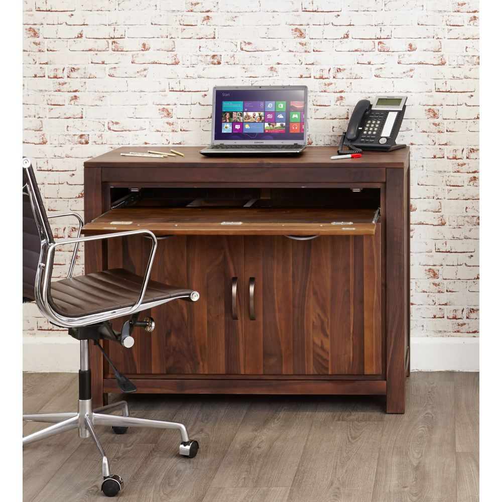 Mayan Solid Walnut Hidden Desk And Filing Cabinet Package