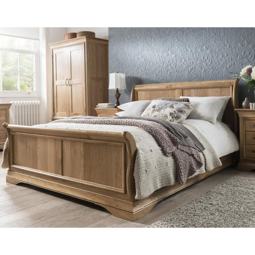 Best Price French Solid Oak Furniture 5 39 King Size Sleigh Bed