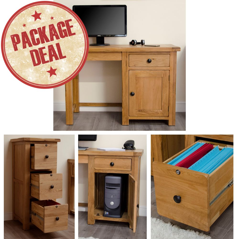 rustic solid oak furniture small desk and threedrawer