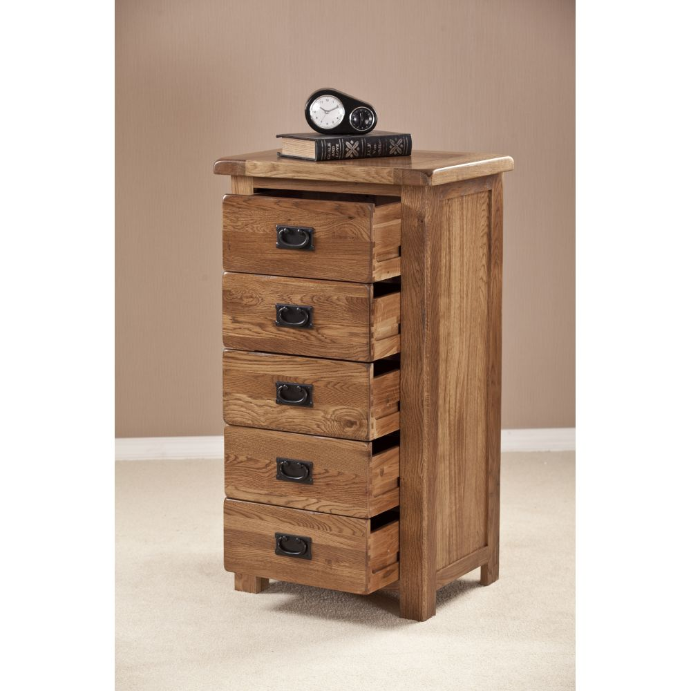 Tuscany Solid Oak Furniture Tallboy Chest Of Drawers