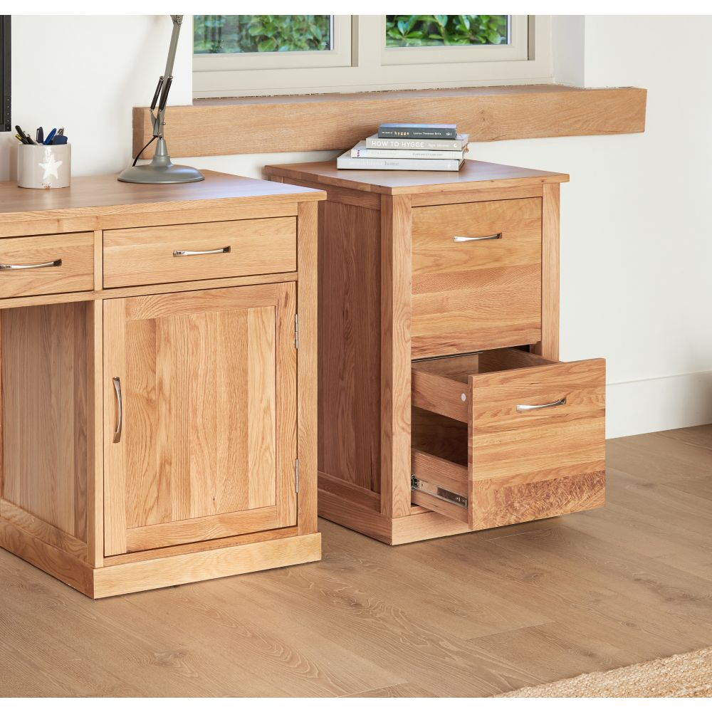 Mobel Solid Oak Hidden Desk And Filing Cabinet Package