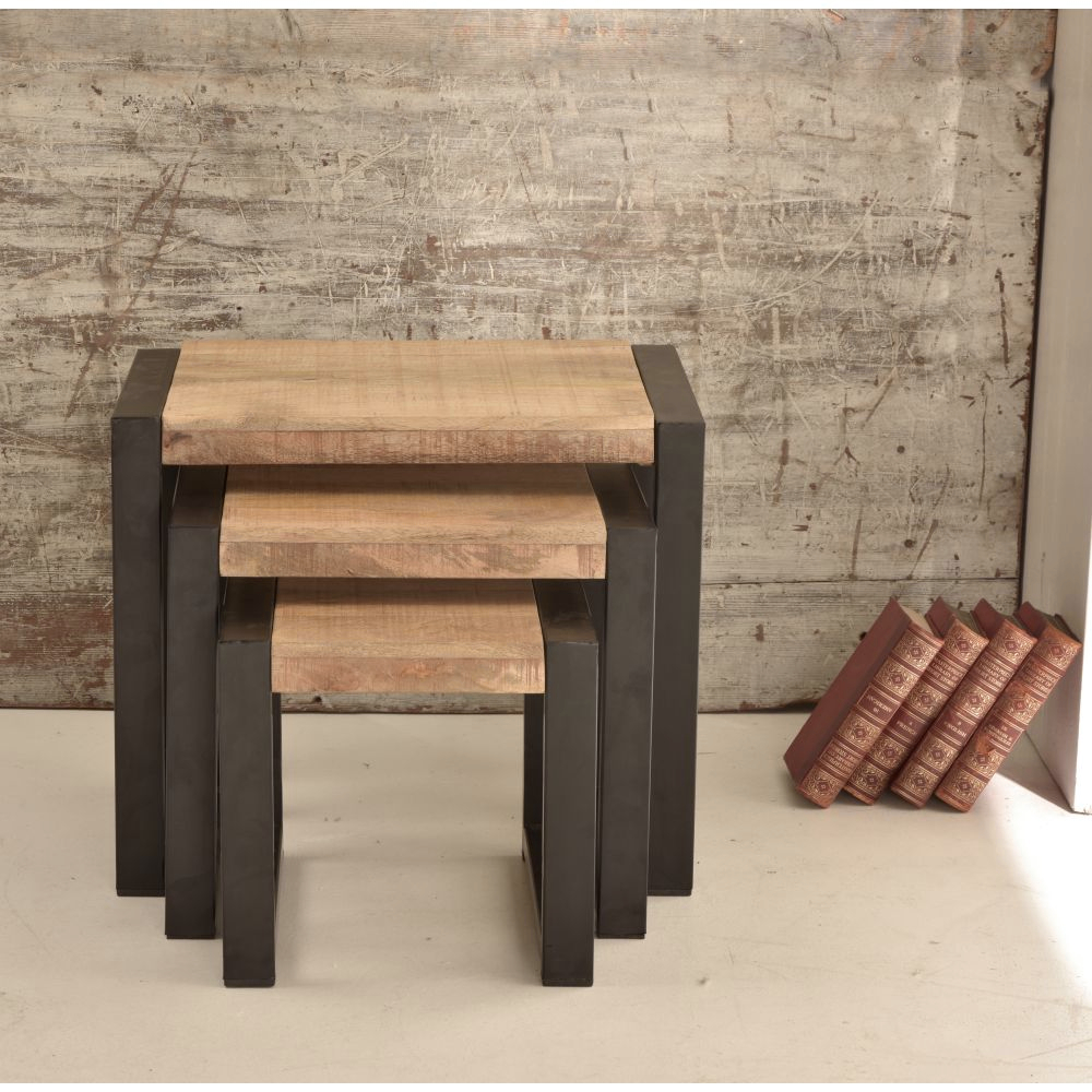 Harbour Indian Reclaimed Wood Furniture Nest Of Tables