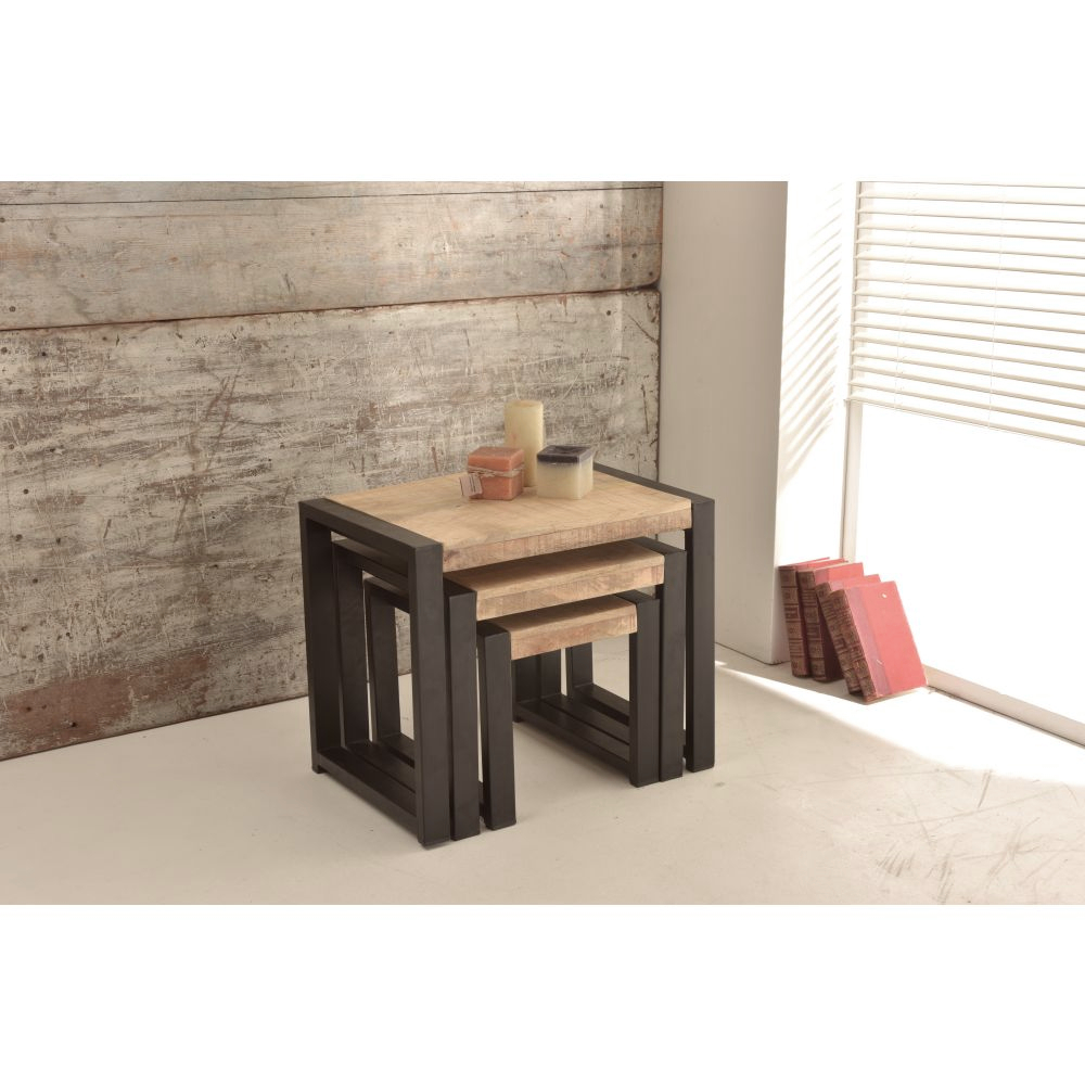 319e6f2ff3 Harbour Indian Reclaimed Wood Furniture Nest of Tables